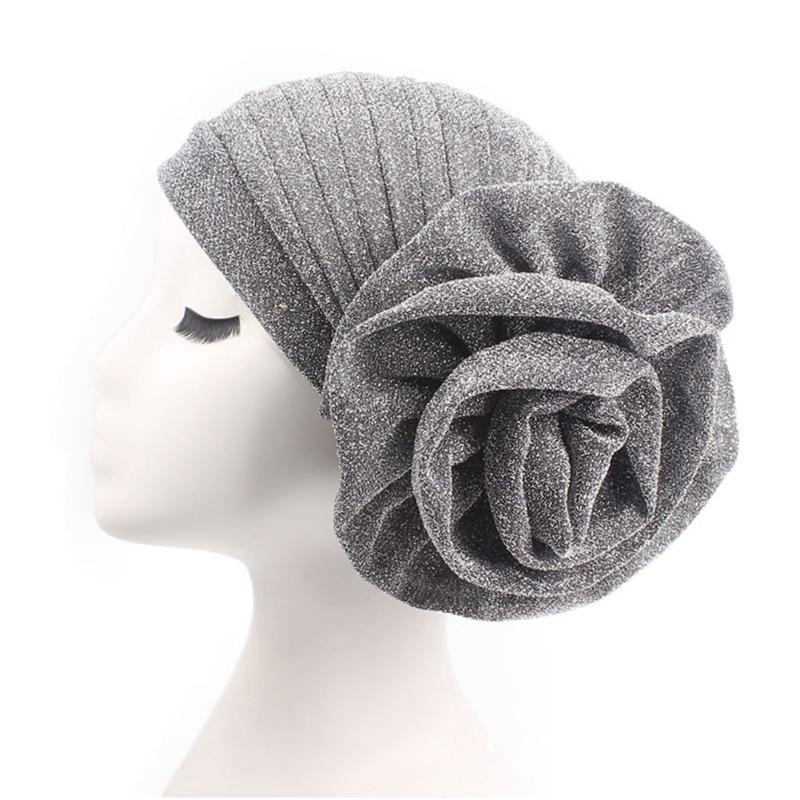 Women Beanie Hair Loss Headwear Solid Glitter Elegant Flower Chemotherapy Cap Casual Stretch For Cancer Turban Fashion
