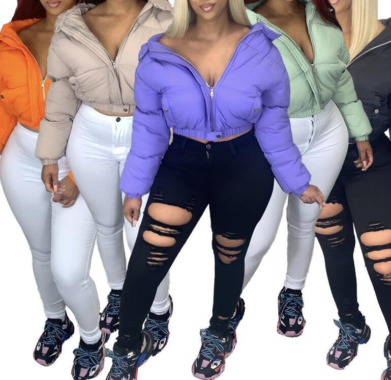 Sıcak Giyim D111102 Dış Giyim Kış Kadın Ceket Seksi Mahsul Pamuk dolgulu Coat Tasarımcı Katı Renk Uzun Kollu Pamuk ceketler Kapşonlu Coat