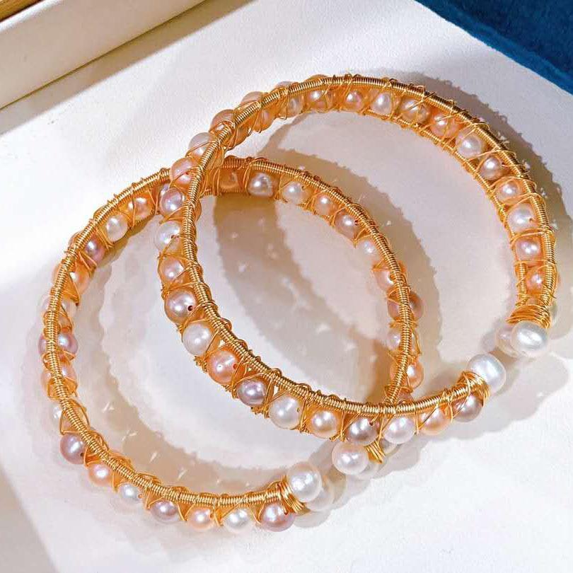 Aiyanishi 14K Gold наполненный ручной работы белый розовый пресноводный жемчужный проволочные струны регулируемый браслет винтажный стиль браслет жемчуг