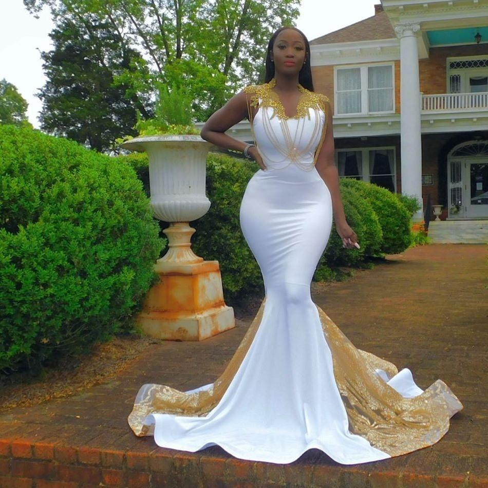 Black Girl Mermaid Evening Dresses Beaded V Neck Sequined Plus Size Prom Dress African Lace Appliques Formal Party Vestido de novia