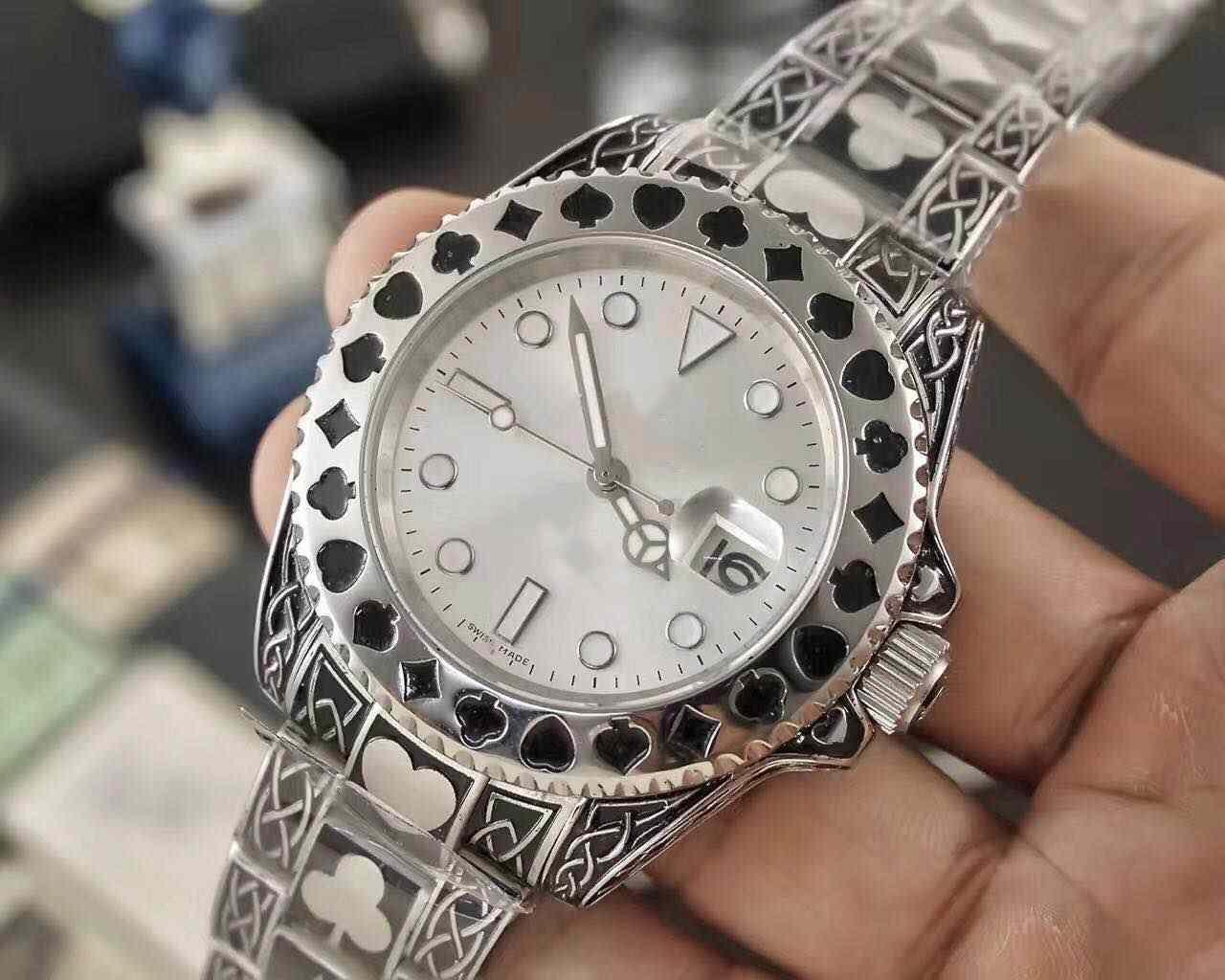 Design Poker, orologio in acciaio inox, con la data automatico, macchine automatiche, vigilanza degli uomini 40mm moda di lusso impermeabile