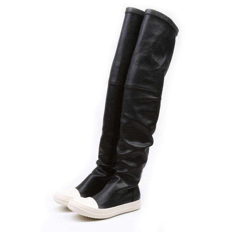 Dehnung Herbst Winter über den Kniestiefel Frauen Schwarz Khaki Dicke weiße Unterseite Flache Plattformschuhe Oberschenkel Hohe Stiefel Lange Stiefel