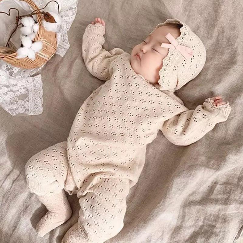 EnkeliBB Bebe lunghe maglia pagliaccetti del manicotto con la gamba di bambino di colore solido Ragazze Autunno Inverno Abbigliamento in un unico pezzo per New Born Q1113