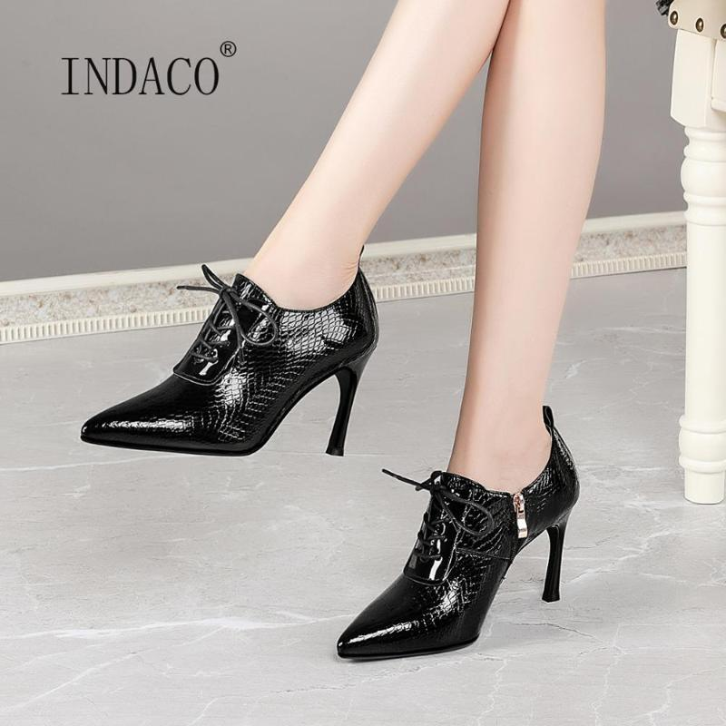 Ankle Boots para Mulher Botas Outono couro fino salto alto Design de Moda Calçados 8,5 centímetros