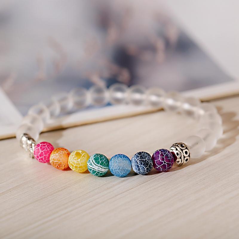 Casuales de la moda de 8 mm accesorios de joyería señoras de la pulsera del encanto de siete colores y por el tiempo Piedra elefante pulsera de cuentas elástica