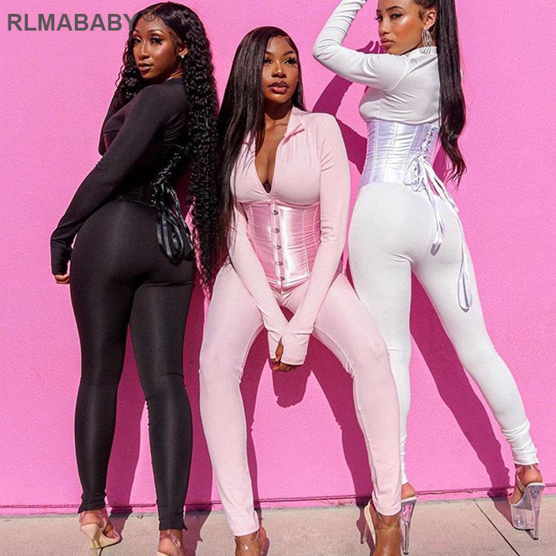 RLMABABY Moda Outono Espartilho E Jumpsuit 2 Piece Set Mulheres Lace Up Zipper Sexy Rua Hipster Two Piece Set Clubwear Outfits