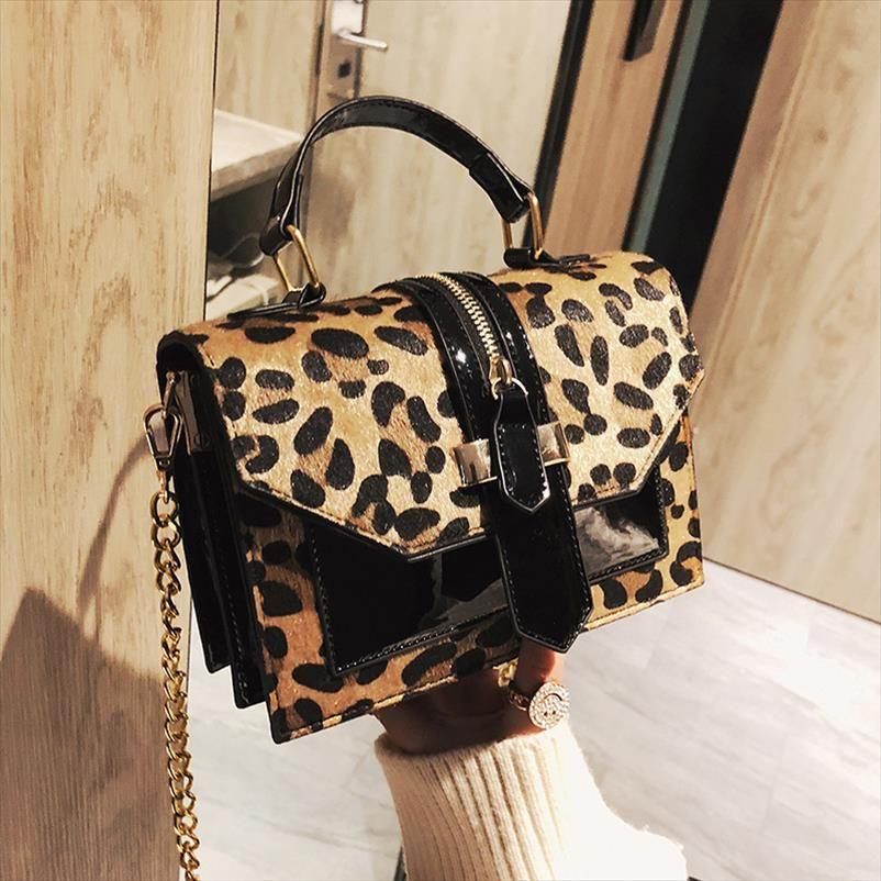 Küçük Flap Çanta Kadınlar Çanta Üzeri Omuz Çanta Kadınlar Çanta Tasarımcı Lady Deri Peluş Messenger Çanta Baskı leopard