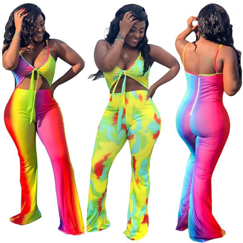 Цветовые комбинезоны Мода Контрастные Цветные Комплекты Сексуальные Бедные Верхние Повседневные Широкие Брюки Ноги Самки Одежда Женский дизайнер Контрастность