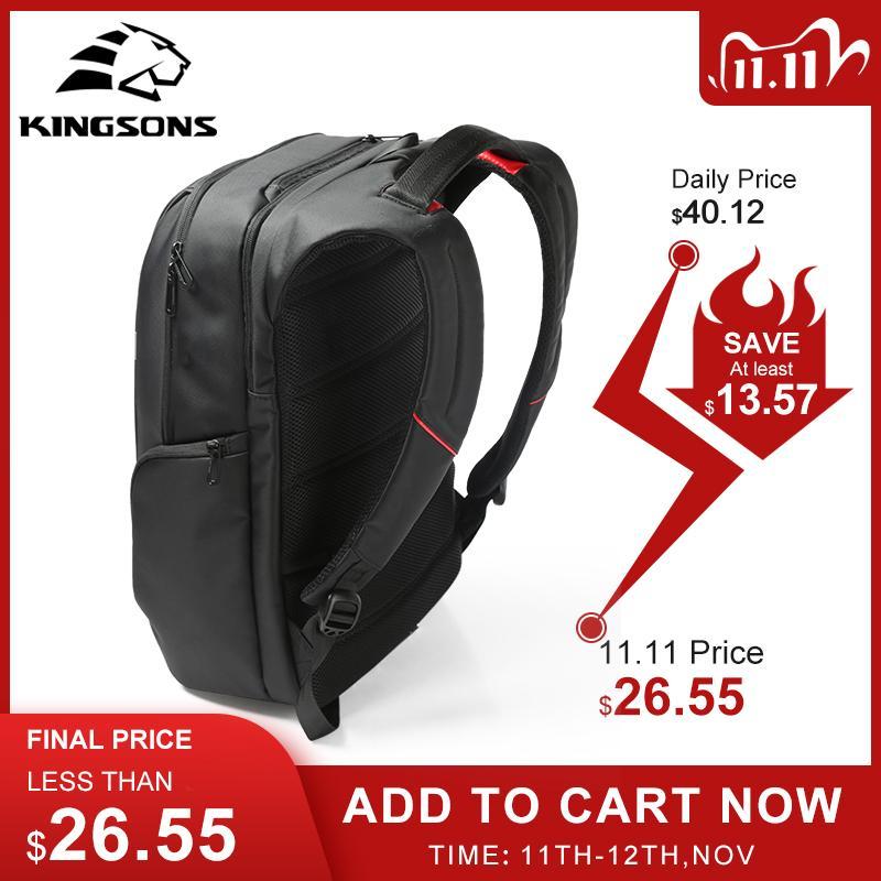 Kingsons 13 Inch External USB Charging Men's Backpack for Computer Women Backpacks Waterproof Anti-theft School Bag Q1113