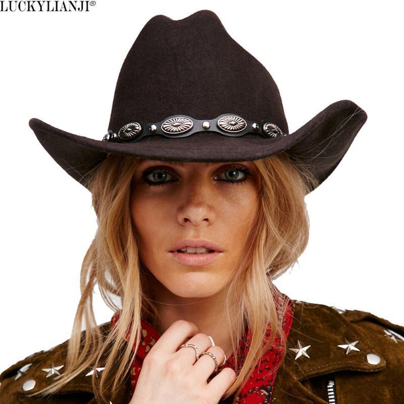 LUCKYLIANJI 100% feltro di lana Donne Cappello da cowboy occidentale degli uomini con ampi pelle tesa Punk Belt protezione di jazz (un formato: 57 centimetri / US 7 1/8)
