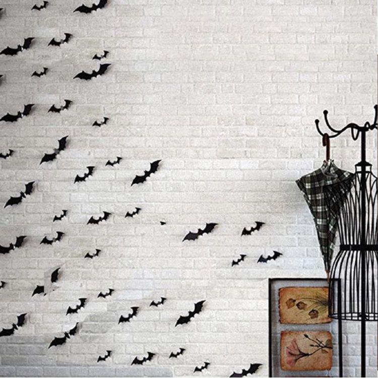 Halloween Decoração DIY Suprimentos 3D decorativas bastões assustadores Decalque adesivo parede Home Decor Janela Cenário 28pcs, preto decoração de casa