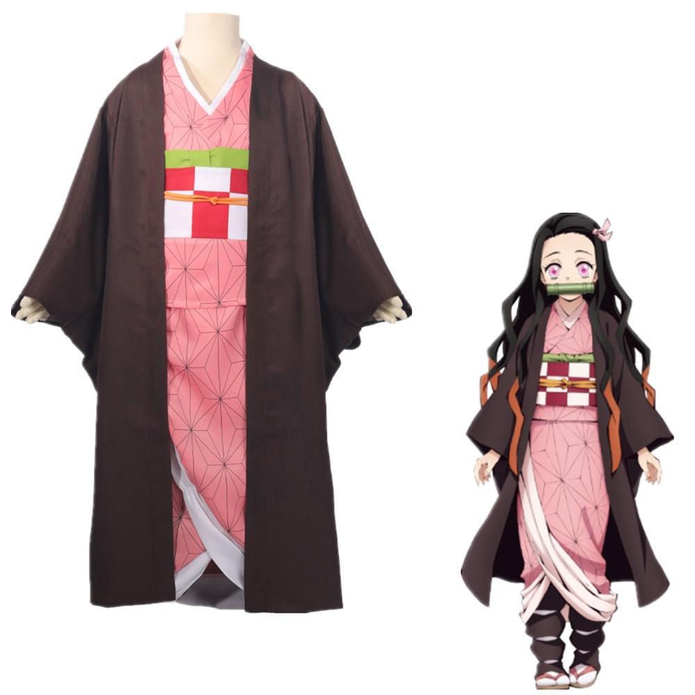 Asya Boyutu Anime Demon Slayer Çocuk Çocuk Kamado Nezuko Cadılar Bayramı Cosplay Kostüm Partisi Üniforma Takım Elbise Kimono