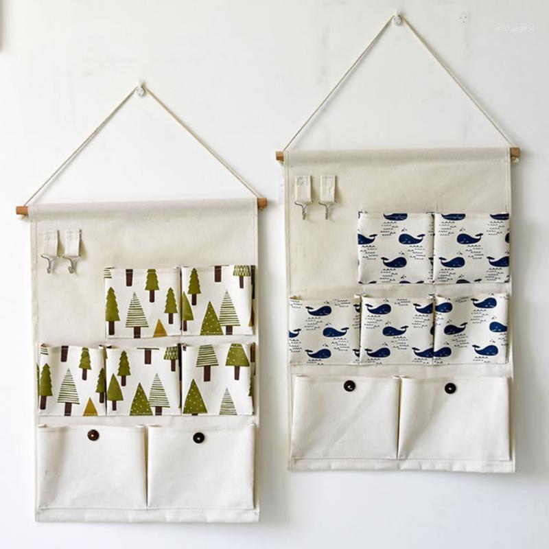 Nova venda quente 7 bolsos tecido pendurado parede pendurado saco de armazenamento com multi-camada doméstica armazenamento parede saco1