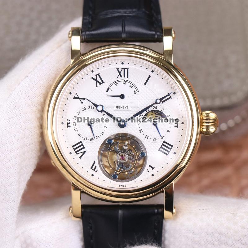 Mejor calidad Axf 42mm complicaciones 18k oro verdadero tourbillon automático hombres relojes dial blanco correa de cuero gents relojes deportivos