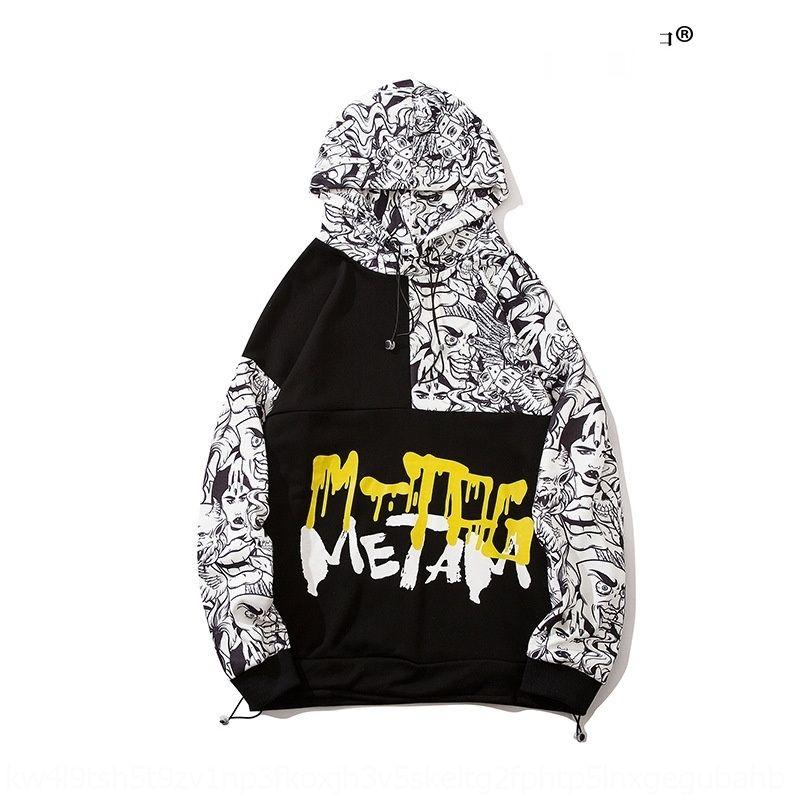 2020 primavera y el otoño de Chaozhou con capucha del hip hop personalizada suéter de la historieta con capucha impresión de la marca de moda de los hombres suéter flojo Mbyaq