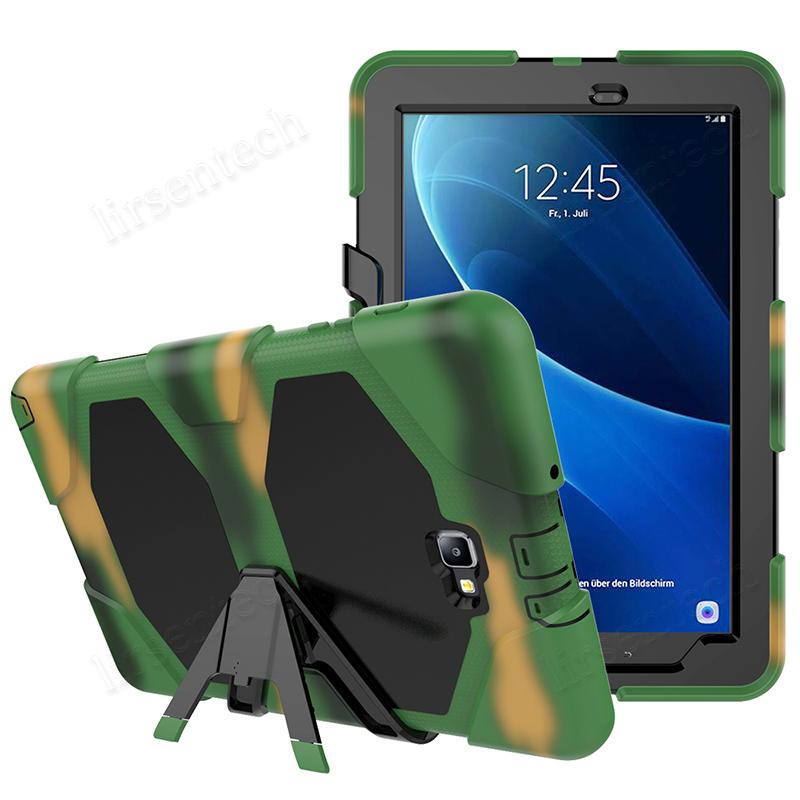 Pesado processo de silicone Dever com Kickstand para Samsung Galaxy Tab 10.1 A 2016 P580 P585 SM-P580 SM-P585 Tablet híbrido Tampa navio livre