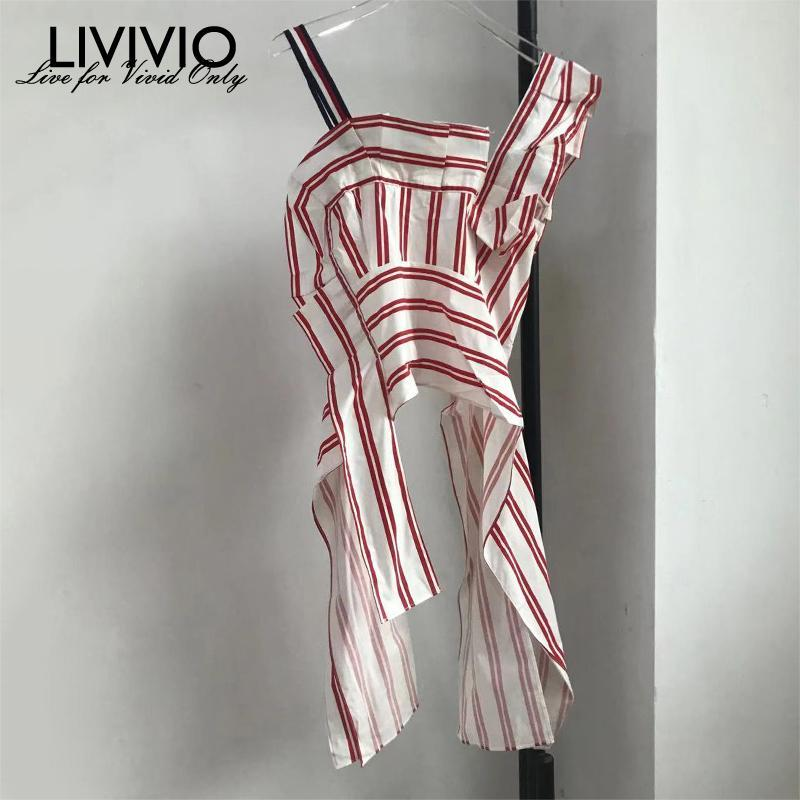 [LIVIVIO]Striped pattern ruffled camisole top, short sleeveless shirt with exposed umbilical slimming and irregular women's top