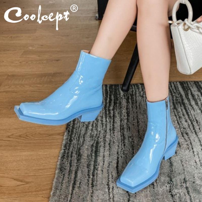 Coolcept New Design Mujer botas de tobillo gruesa tacón cremallera mujer botas cortas brillo fresco invierno otoño zapatos mujer tamaño 34-39