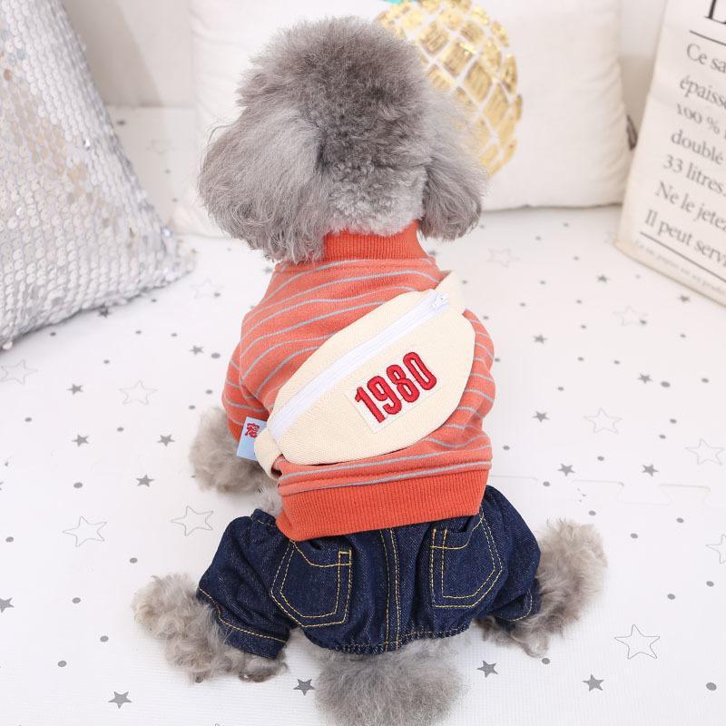Новый Тедди Bomei Bixiong Pet Полосатый Cowboy четвероногие Одежда Маленький Средний Размерный собак Щенки осенне-зимний период 01E1
