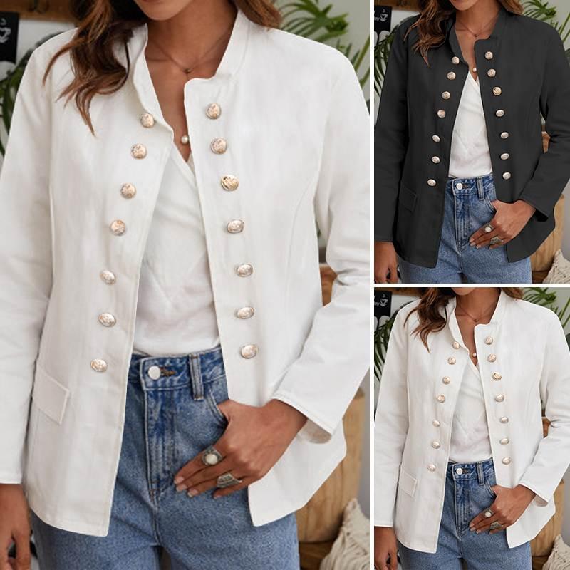 Women's Jackets Female Blazer Coats Women Elegant Office Blazers 2021 Fashion Long Sleeve Buttons Solid Formal Outerwear 5XL
