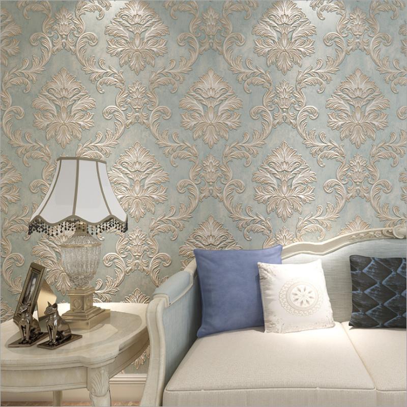 Papier peint 3D non tissé rouleau à la maison Décoration Vintage Salon Européen Chambre à coucher Fond de mur en relief Papier mural or bleu blanc