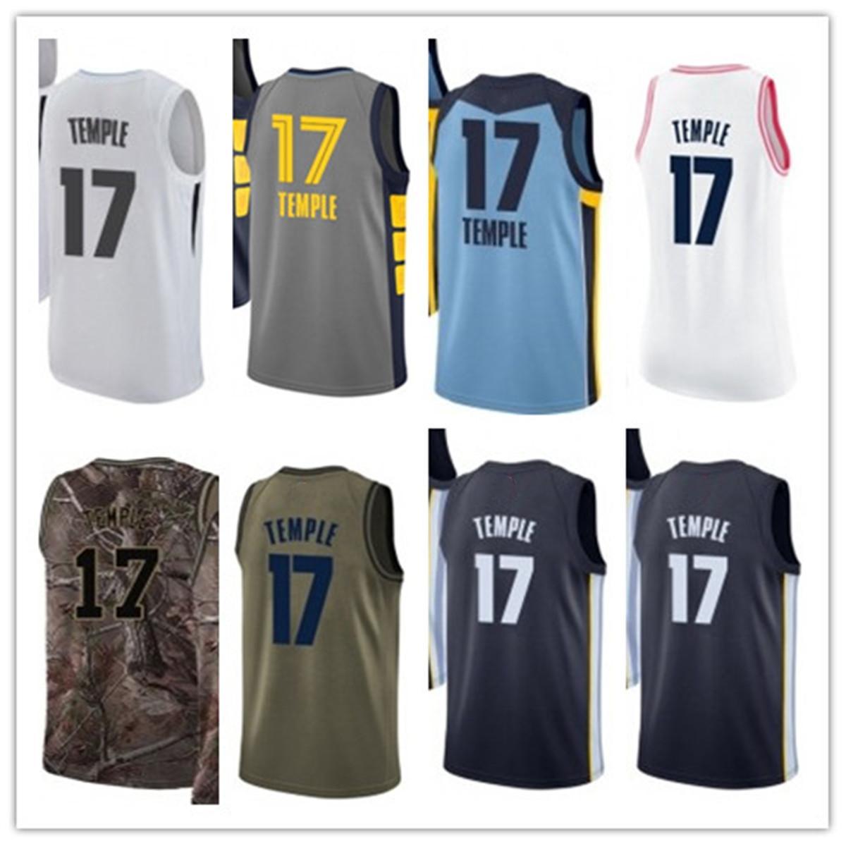 Benutzerdefinierte 2020 Grizzlie-Stil-Trikots Schwarz Weiß Grüne graue Armee Grün 17 GarrettTempel-Basketball-Jersey.