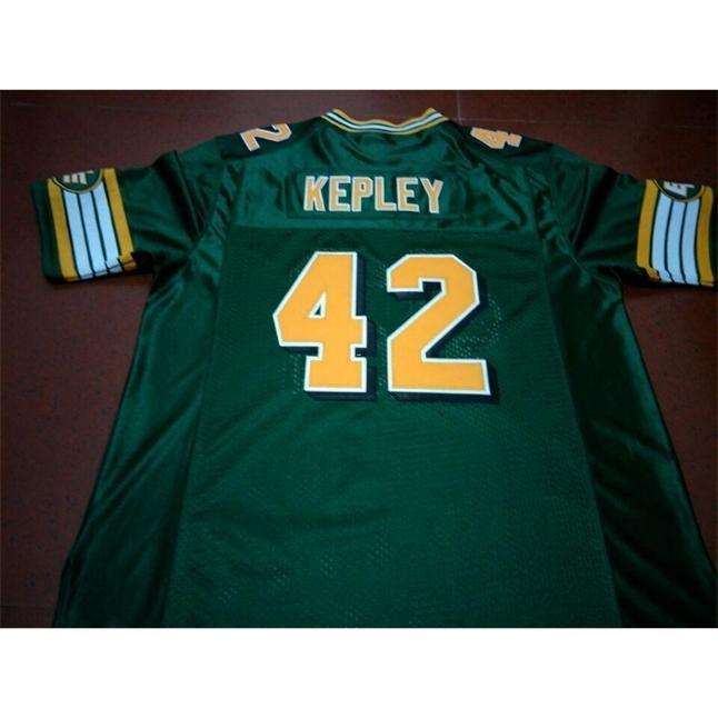 2604 Edmonton Eskimos # 42 Dan Kepley White Green Real Full Stickerei College Jersey Größe S-4XL oder Benutzerdefinierte Name oder Nummer Jersey