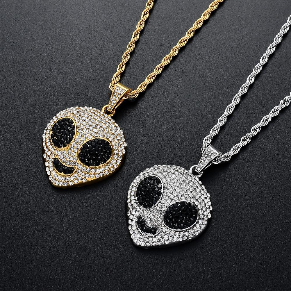 Alien-Anhänger-Halskette Hip Hop-Anhänger-Halskette Gold überzogenen Silber überzogener Legierungs-Anhänger in Europa und Amerika