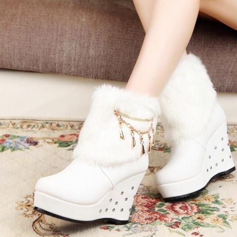 Brcchenxi Damen Wedges Stiefel Winterschuhe Damen Warm-Pelz-Plattform-Schuhe Ankle Boots White Snow Schuh für Frauen