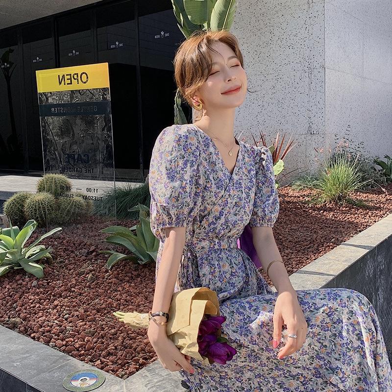 Romantique été robe violette nouveau style français bulle manches peinture à l'huile peinture de longueur moyenne jupe taille col V huile ExUVy