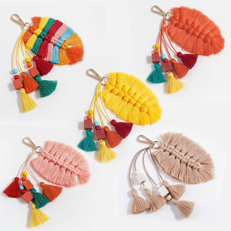 Pure handgefertigte kreative Baumwollquaste Anhänger Blätter Holzperlen Tasche Ornamente Nordic National und European Keychain Anhänger