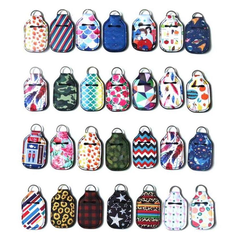 Titolare 30ml Hand Sanitizer Neoprene portachiavi mini bottiglia di copertura portachiavi portatile di viaggio favore caso di stampa Party Bag regalo LJJP742