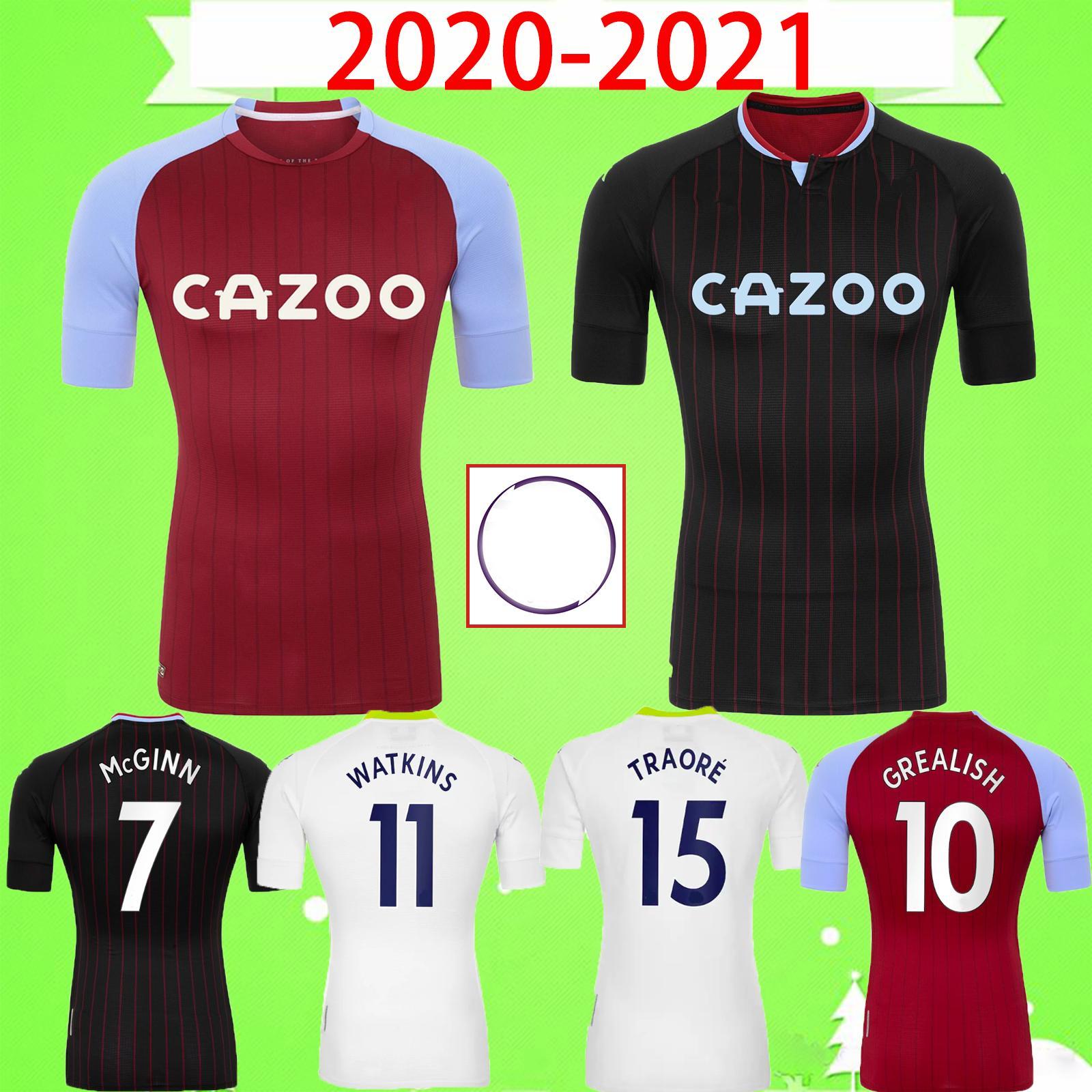 2020 2021 استون فيلا لكرة القدم بالقميص المنزل بعيدا Grealish Hourihane ويسلي ماكجين SAMATTA DAVIS TREZEGUET درينكووتر قميص كرة القدم الرجال الاطفال