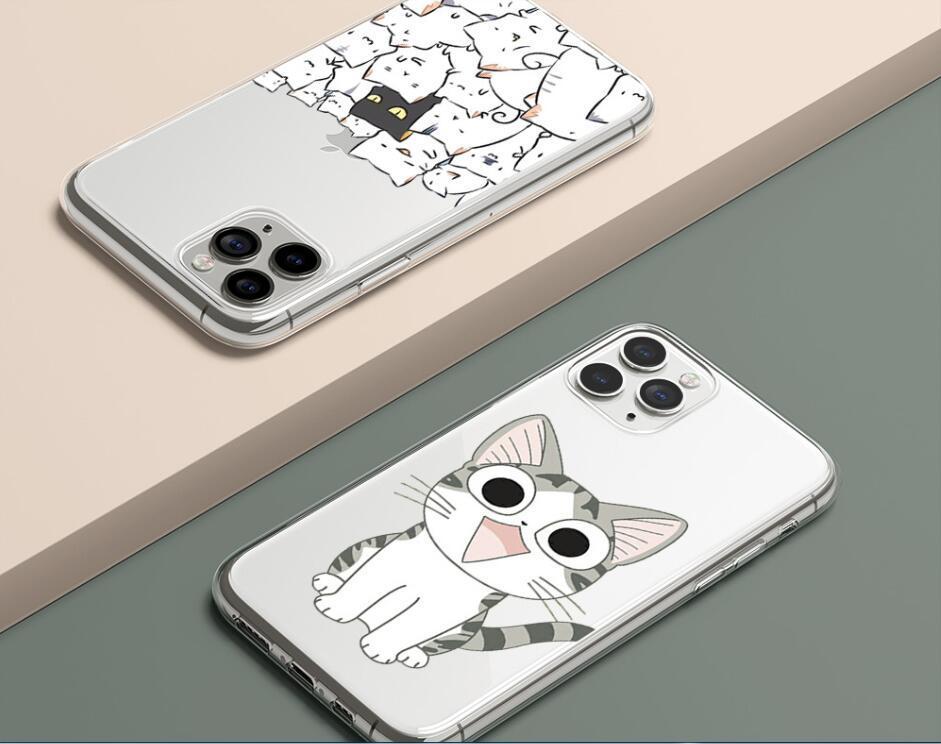 전화 케이스 아이폰 (11) 케이스 아이폰 (11) 프로 XR 7 X XS MAX 8 6 6S 플러스 5 5S SE 2020 실리콘 귀여운 재미 있은 고양이 고양이