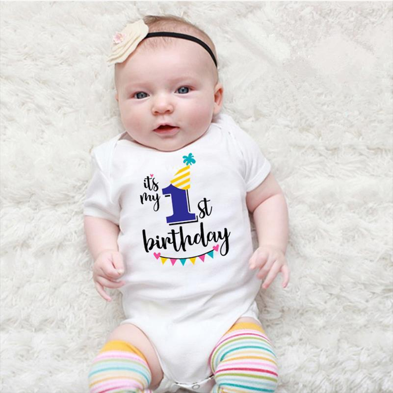 Newborn Baby Short sleeved Baby Rompers My First Birthday Letter Print Girls Boys Clothes Baby Boy Birthday Party Clothes 0 24M