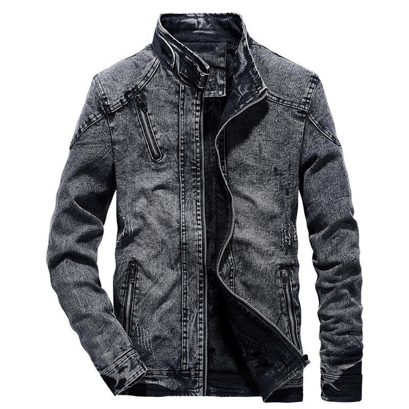 NOUVEAU Verte Vintage Mens Denim Solid Casual Mens Jeans manteau Mode Stand Vêtements pour Hommes Black Blue Bombard Jacket Hommes Stand Lj201013