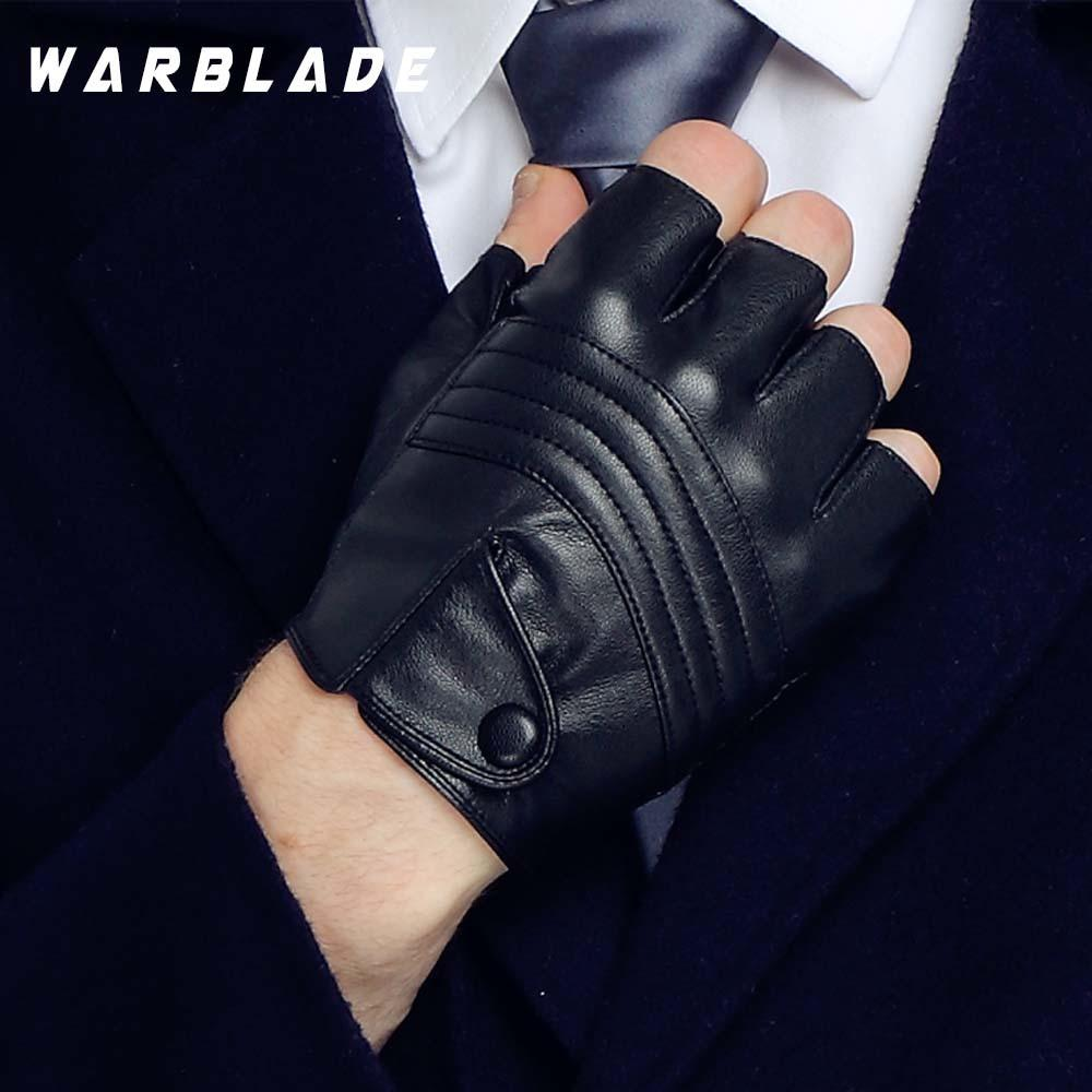 Warblade 2020 Neue Stil Herren Leder Treiberhandschuhe Fitnesshandschuhe Halbfinger Taktische Handschuhe Schwarz Guantes Luva R223