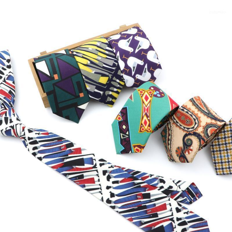 Neck Ties Brand Men's Geometric Casual Polyester 7cm Slim Necktie Skinny Bohemian Style For Gift Accessories1