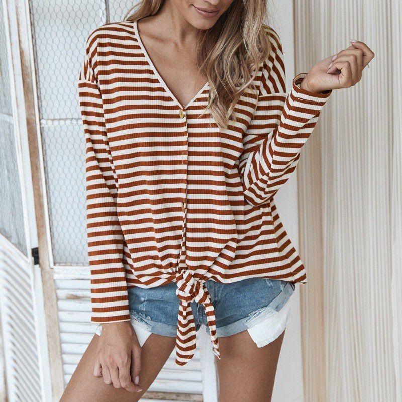 Damen Sommer Mode V-Ausschnitt Tshirt Langarm Saum geknotet gestreift T-Shirts Weibliche sexy T-Shirt