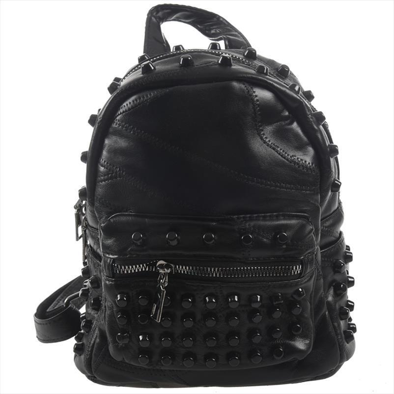 Frauen Kleine Gutes Leder Rucksack Rivet täglicher netter schwarzer Rucksack für Teenager Mädchen Schulranzen Gelegenheits Reise Rucksack
