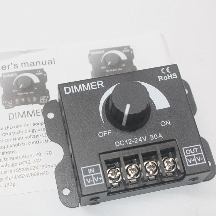 LED Dimmer Denetleyici DC12V-24V 30A 360-720W Tek Renk Kolay Çalışma Ayarlayıcı