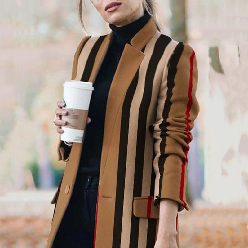 Female Autumn And Winter Long-sleeved Casual Pocket Woolen Coat Suit 2020 Slim And Elegant Office Stand Collar Women Jacket LJ201201