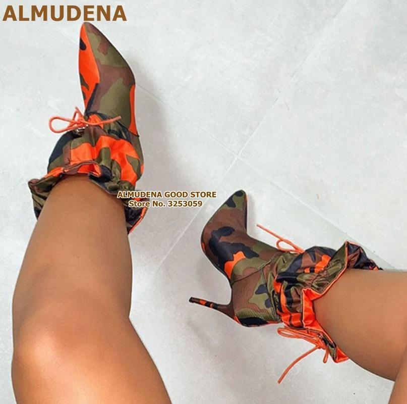 ALMUDENA arancione camuffamento del tacco alto di colore Patchwork Ruffle Mid-Calf Boots Lace-up della punta aguzza Falbala Abito scarpe Pompe
