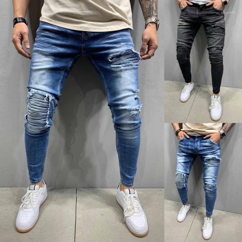 Мужчины полосатые молния джинсовые отверстия винтажные стирки хип-хоп работы брюки джинсы брюки # 401
