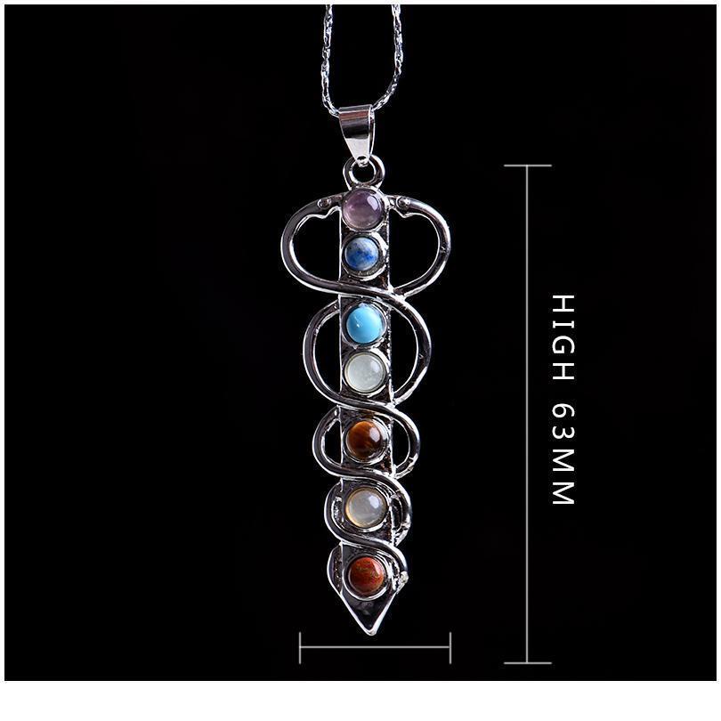 1 pc moda colorido natural de cristal energia amizade poderoso 7 chakra cura pedra cristal pingente diy presente jllfwl