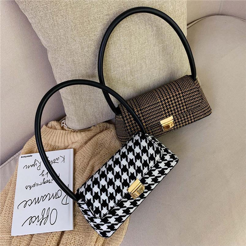 Marca Houndstooth pequeno Flap Mulheres ombro sacos de alta qualidade bloqueio Handbag Pu Leather Messenger Bag Feminino manta Bolsa