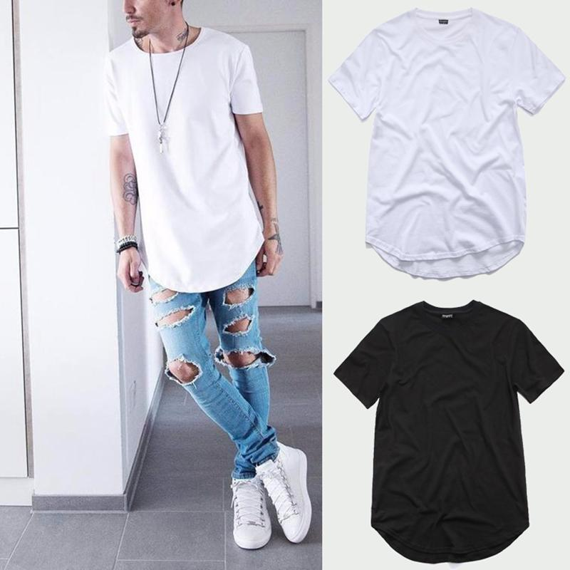 Waren in toller Demandw-Streetwear Männer Extended T-Shirt Swag Herrenhemden Solide Hip Hop T-shirt Herren T-Shirts Tops Kurven-Saum-O-Neck-Kleidung