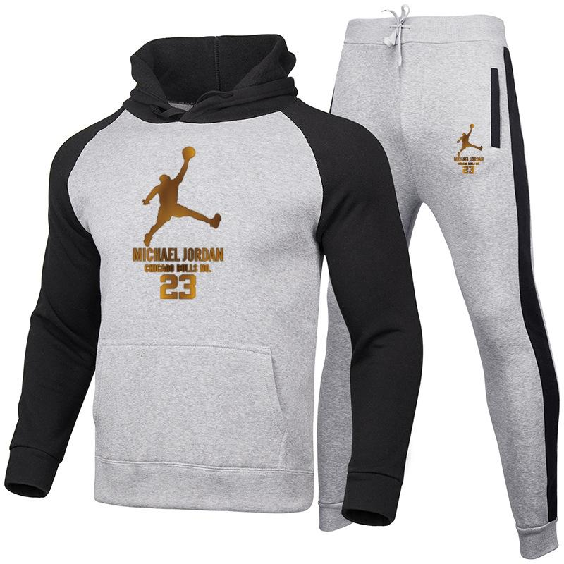 Marque de mode d'impression 23 Set à capuche en molleton pour hommes Pantalon chaud épais Survêtement de sport Costumes Homme Veste de survêtement Survêtement Survêtement