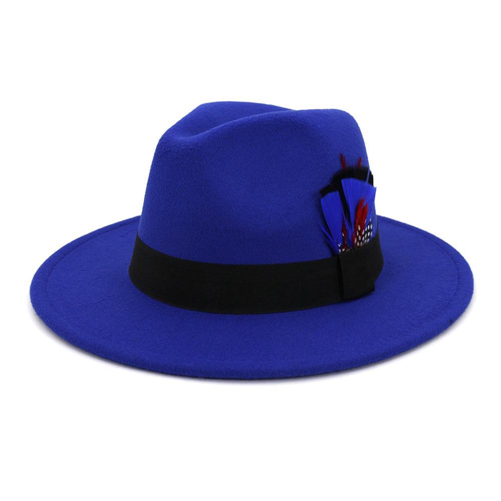Las nuevas mujeres de lana de ala ancha de Fedora del fieltro sombreros de Panamá con el Partido del casquillo del sombrero flexible jazz clásico hebilla de cinturón pluma formal del sombrero de copa