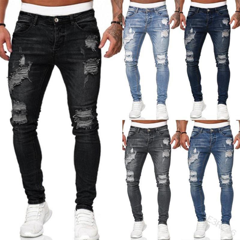 Nouveau Hommes élégant Ripped Trou Denim Jeans Pantalons Poches Bouton Skinny Pantalons Streetwear de haute qualité